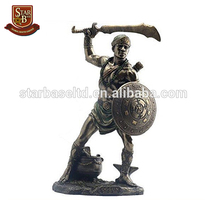 Custom made wholesales garden decorative resin Oggun ancient warrior statues