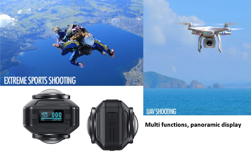 720 Degree Panoramic View Car Camera, MINI WIFI Sport DV 1080P Manual 720 Degree Action Camera