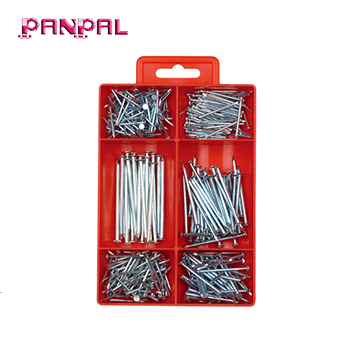 Hot selling small PS box package assorted sizes carbon steel decorative common wire <strong>nail</strong>