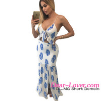 Elegant White Printed Ankle Length Ladies Long Casual Dresses Pictures