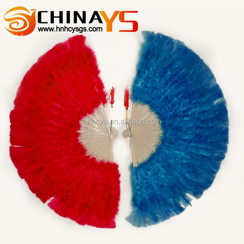 Factory Wholesale Cheap Handmade YS4004 feather hand fans on promotion