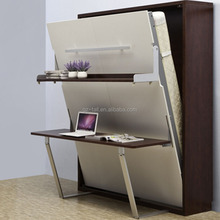 High quality wooden folding wall bed,hidden wall bed murphy bed with desk and shelf, pull down wall bed