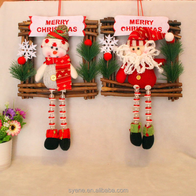High quality fashion factory price wreath supplies wholesale Christmas Santa Claus wreath Santa Claus hanging ornaments wreath