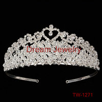 Wholesale Silver Sterling Crystal Hair Accessories Hair band Big Pendant Tiara king and queen crowns