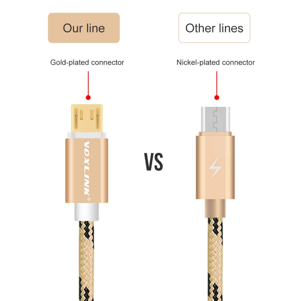 Voxlink gold plated gift tiger cottom color 1m micro usb cable fast charging for iphone 7 samsung micro (OEM/ODM OD:4.5mm))