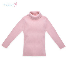 Rose Hign Cou Nervure Tricot Pull Enfants Pull Fabricant