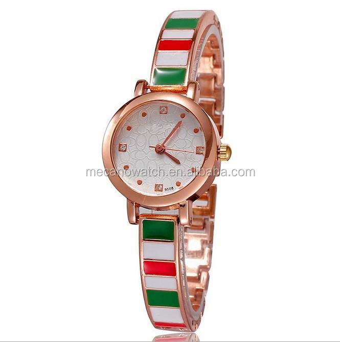 ladies gold wrist watches 2014 ladies cuff watches for small wrists,luxury rose gold watch with leather straps for decoration