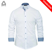 100% combed cotton white woxen beautiful official shirts for men long sleeve dress casual shirts OEM no iron and wrinkle free