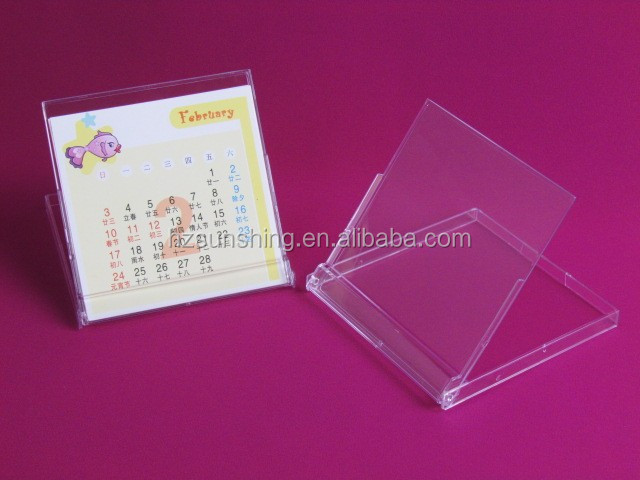 wholesale desk calendar holder plastic transparent calendar case