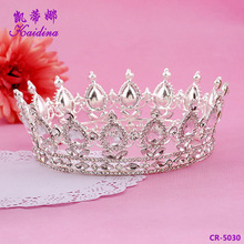 WQ Hot sale full circle silver bridal king crown wedding alloy full round tiara stock