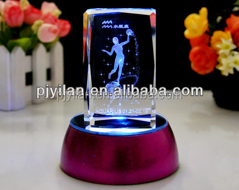 etched engraved blank 3d laser etched glass cube with LED light base