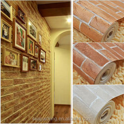 Vintage Vinyl 3D Effect Retro Embossed Red Brick Wall Wallpaper Brown/off white