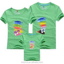 Cheap cartoon printing t shirts design your own pattern and logo parent-child kids garment 100%cotton tshirt