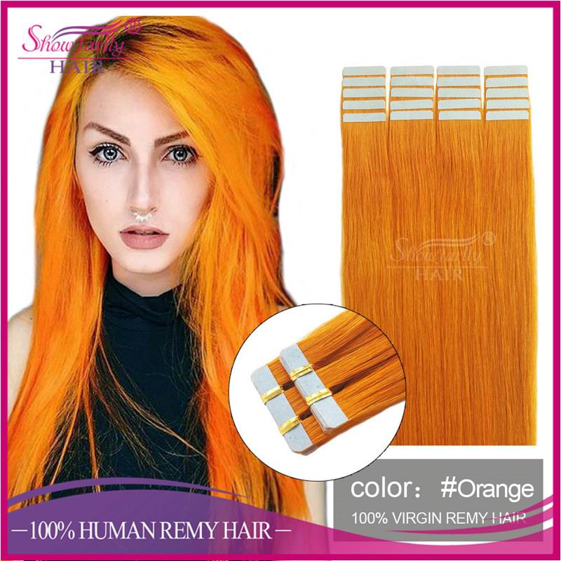 Human remy tape in skin weft hair long inch fancy color orange remy pu hair wholesale price 40 piece 100g