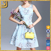 High quality fashion blue crew neck sleeveless casual dress for women