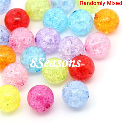 30PCs Mixed Crackle Acrylic Round Spacer Beads 20mm