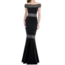 Super September Wholesale Fashion Elegant Mermaid Black Sexy Long Evening Dress