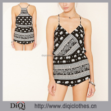 2017 New Arrival Factory Wholesale Price Casual Black Elephant Print Cami Romper