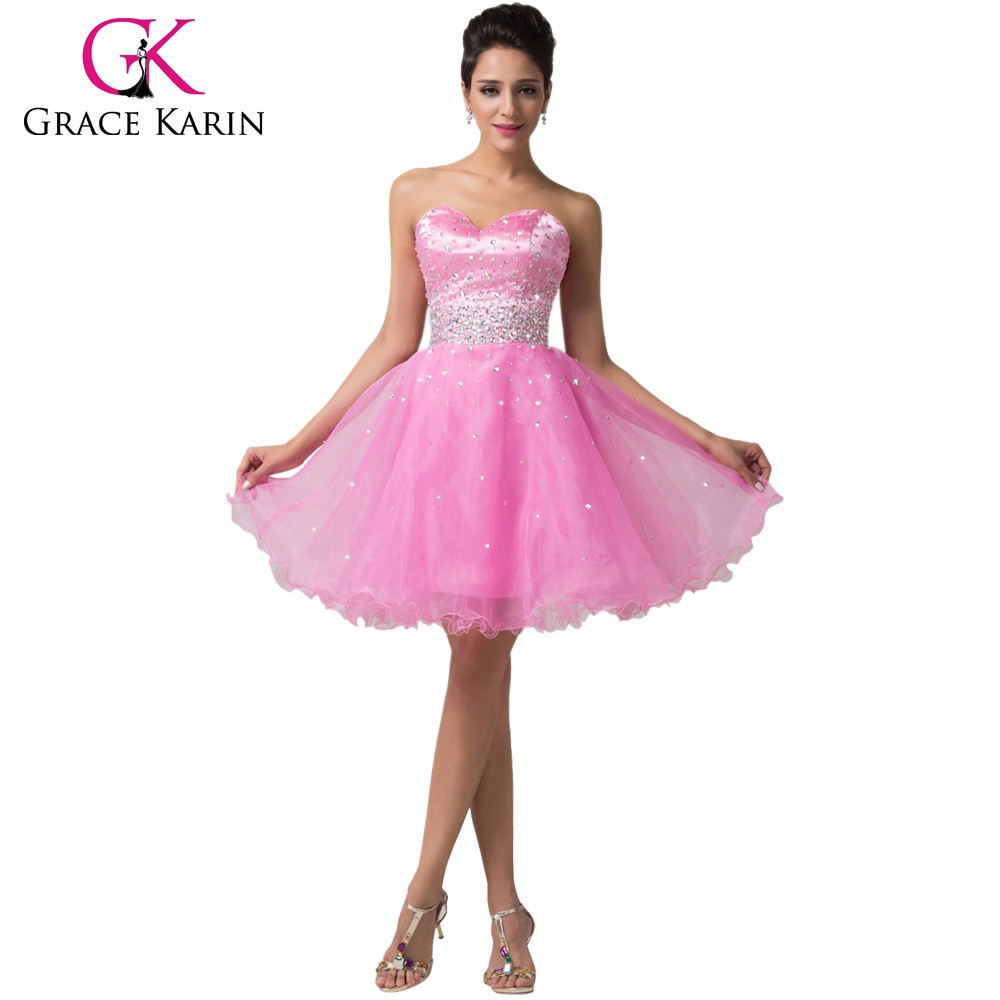 Grace Karin 2015 Newest Design Strapless Sweetheart Beaded Light Pink Short Cocktail Dresses CL6145-1#