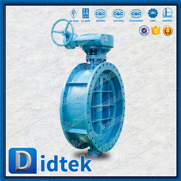 Didtek DN1200 PN10 Flanged Triple Offset Eccentric Butterfly Valve with Gear