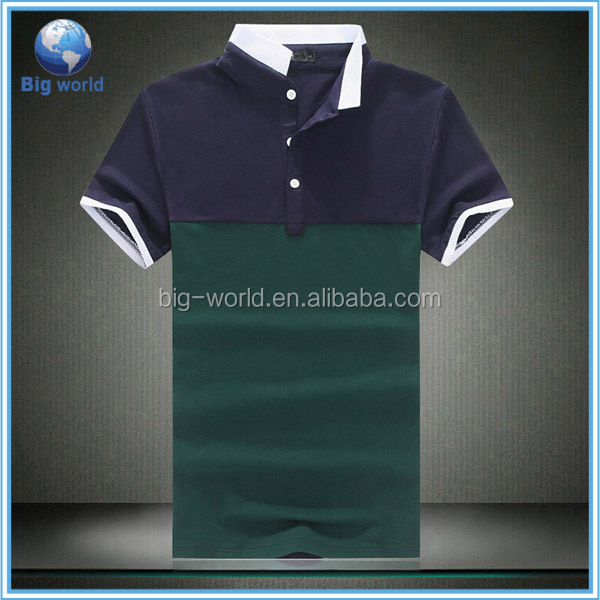 Factory OEM custom new 2015 design color combination 100 cotton polo t shirt