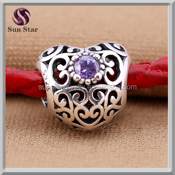 2016 hot DIY jewelry sterling silver rhinestone pave heart beads