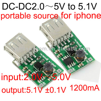 DC - DC (2.0 ~ 5 v) 5 v booster module 1200 ma output, iphone charging mobile power