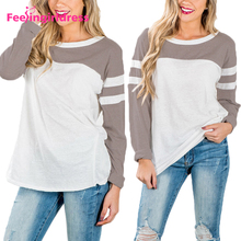 Fashion White Stripe Pattern Casual Women Long Sleeve Blouses