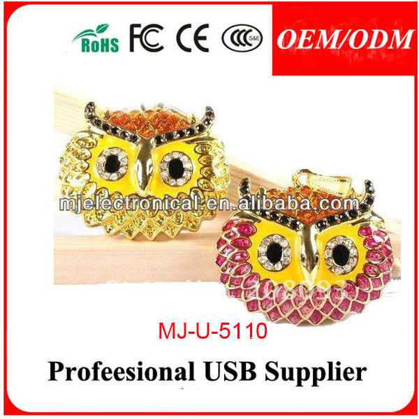 Cute Crystal Pen Drive Owl Usb Flash Drive,Necklace Pendrive Jewelry Usb Owl Shape