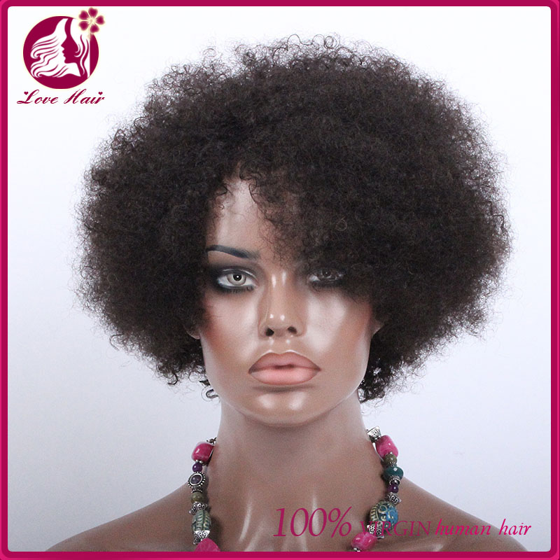 Wholesale virgin mongolian unprocessed hair full lace human hair wigs short afro curl lace front wig for black women
