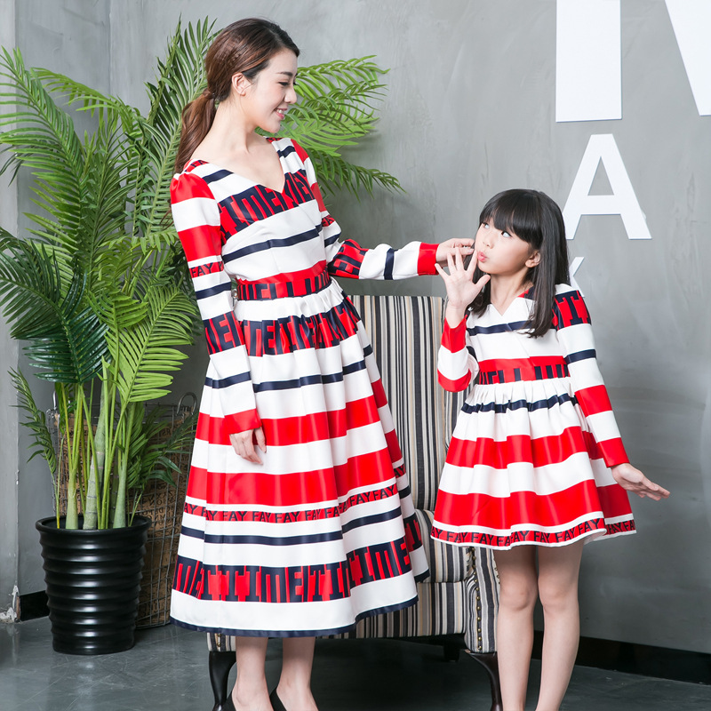 Z90866A Mother and daughter clothes dresses party mommy and me clothes 2016 style mother daughter dresses matching outfit