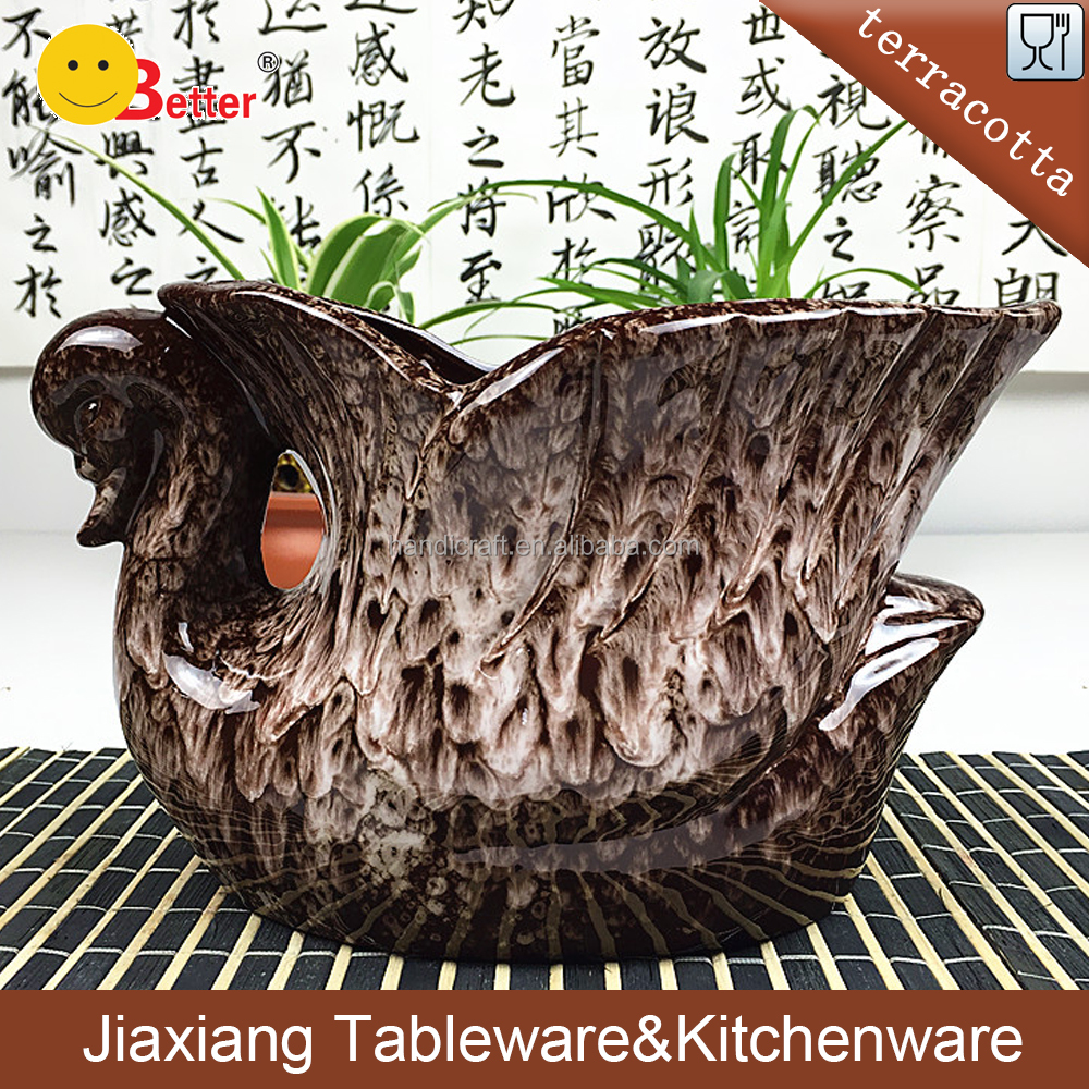 wholesale flower pots terracotta swan shape