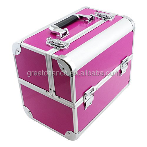 "SRA Cases EN-AC-FC-B082-PK Make-Up, Cosmetic, Vanity Case with Fold Out Trays, 12.2 x 10.6 x 8.3"", Pink and black"