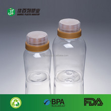 wholesalet empty clear pet honey packing plastic round wide mouth plastic squeeze sauce bottle