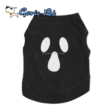 Soft Cotton Black Ghost Halloween Dog T Shirts for Small Pet