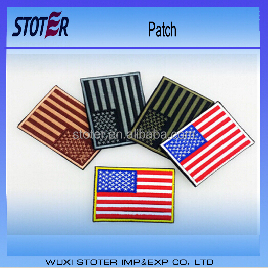 custom pattern USA flag embroidered patch for July 4th