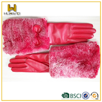 Fashion and Warm Winter Leather Gloves Pink Long Leather Gloves with Fur