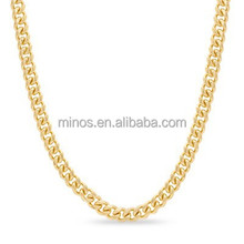 Men's Stainless Steel with 14K Gold Plate 5mm Curb Chain Necklace