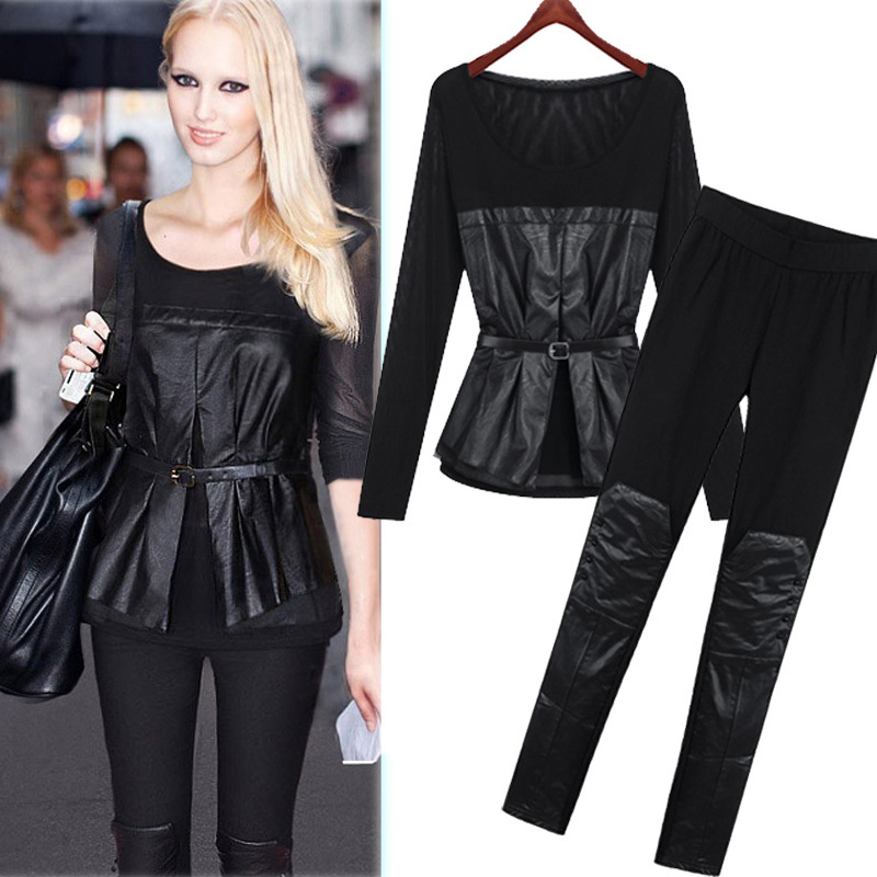 C82919A European pu coat shirts+ pants suit/autumn sexy women sets