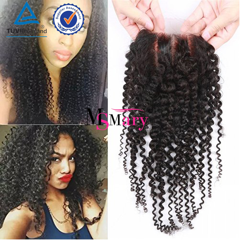 Free Part/Middle Part/Three Part Mongolian Kinky Curly Hair And Lace Closure Unprocessed Mongolian Virgin Curly Hair With Closur