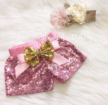 Embellished with a gold sparkle bow baby girl pink sequin shorts new style glitter shorts
