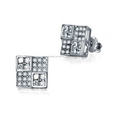 Bling bling iced out micro pave screwback stud earrings for men