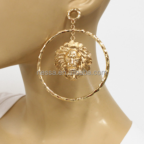 Fashion lion head dangle earring Wholesale NSER-6825