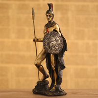 Popular Design Metal Craft Bronze Roman Soldier with Spear and Shield Statue