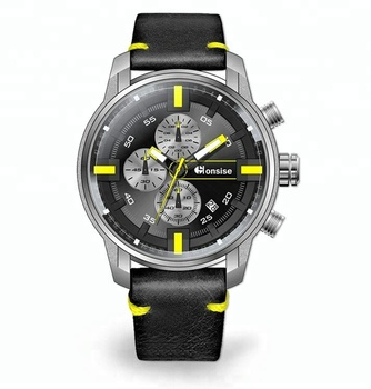 OEM China Supplier Stainless Steel Genuine Leather Strap Luxury Man Sports Quartz Watches For Men