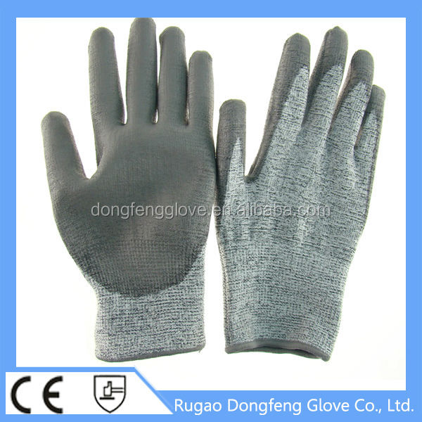 Best HPPE PU Palm Coated Class 5 Of Cut Resistant Safety Equipment Working Gloves With Different Size