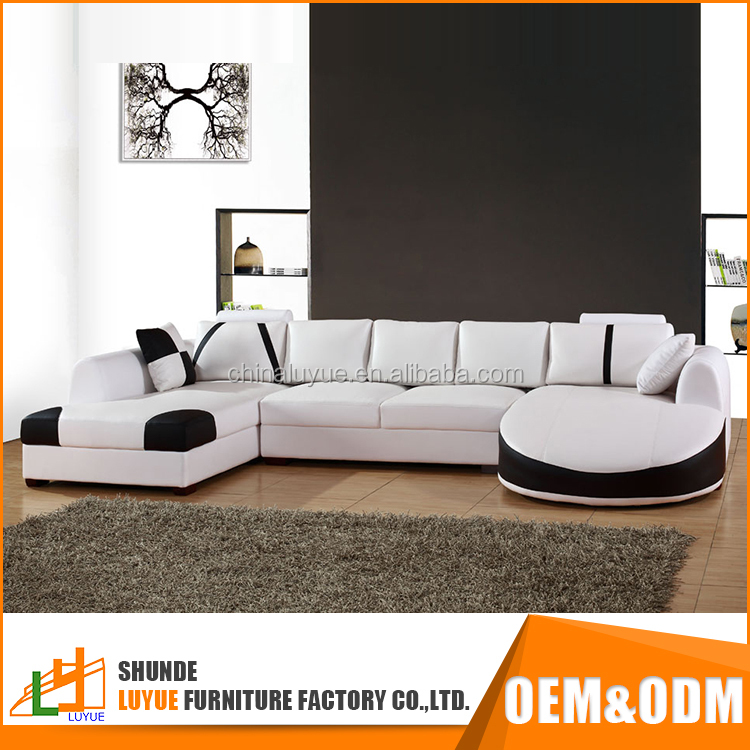 simple design european style pictures of wooden frame u shape genuine leather luxury new fashion sofa set