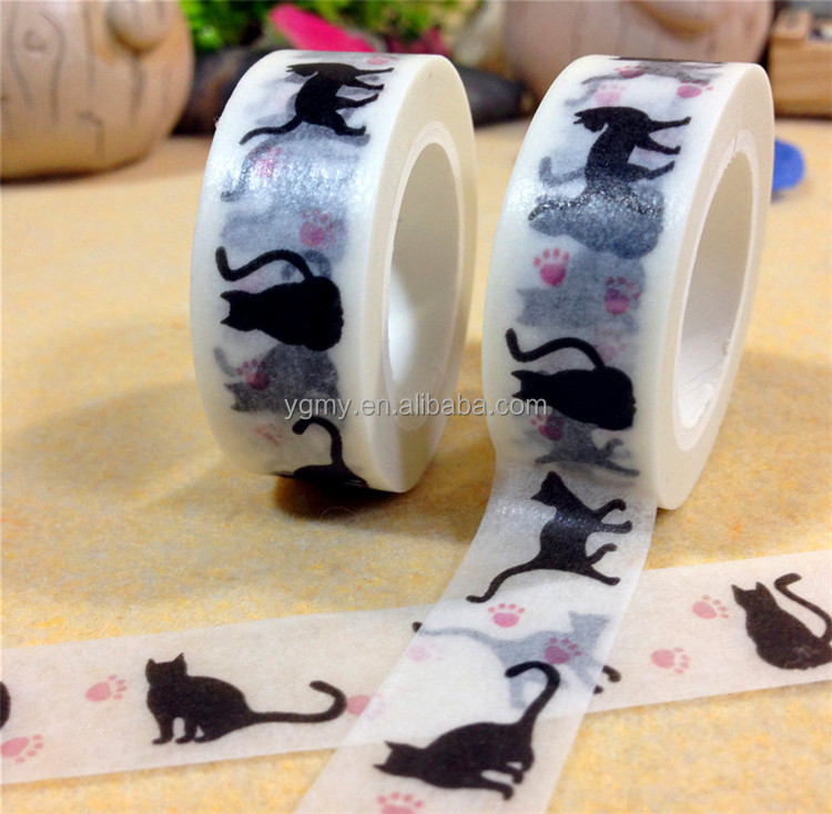 New 15 mm*10m Cartoon Black Cat Print Japanese Paper Washi Tapes/Decorative Adhesive Tapes
