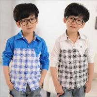 2015 autumn&spring new boy blouse children's clothing spell checked leisure long-sleeved shirt manufacturer wholesale silver