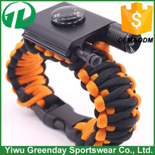 Custom color Outdoor Survival Gear Escape Paracord Bracelet With Flint / Whistle / Led light /flashlight/thermometer